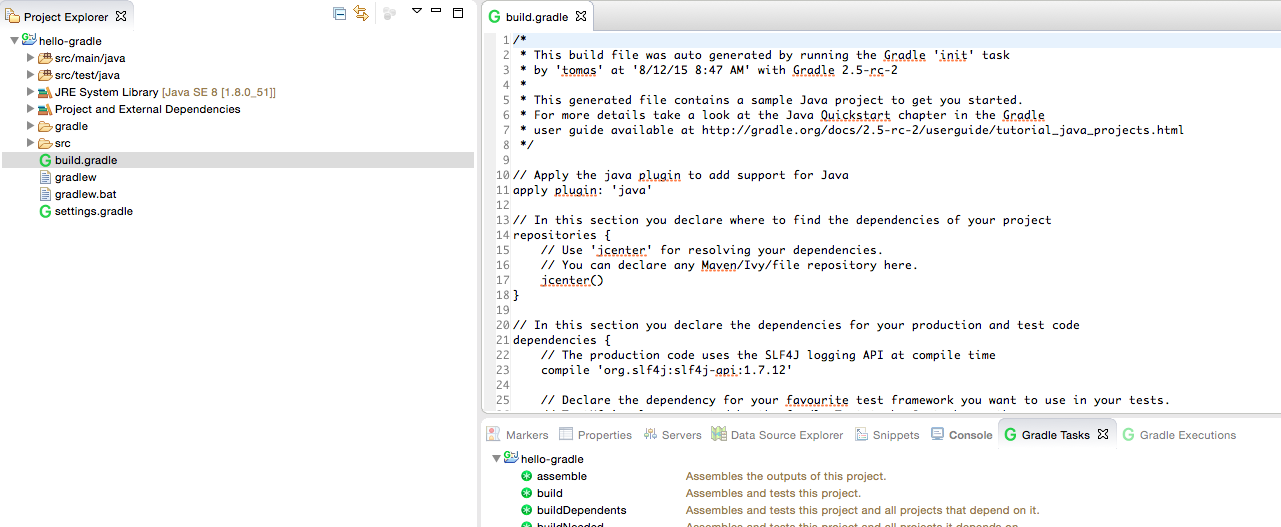 Managing Gradle projects in Eclipse IDE